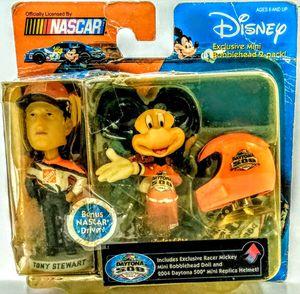 DISNEY NASCAR MINI BOBBLEHEAD 2-PACK TONY STEWART- MICKEY MOUSE W/HELMET 2004 for Sale in Winter Haven, FL