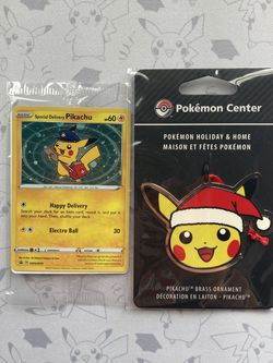 Holo Special Delivery Pikachu Promo Card & Pikachu Holiday Ornament for Sale in Glendale,  CA