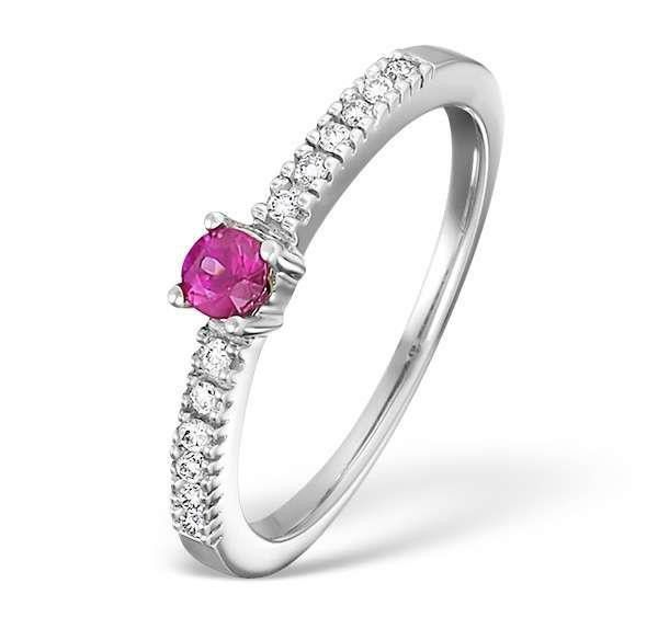 Pink Sapphire And Diamond Ring White Gold 14K