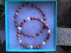 Rhodochrosite with freshwater pearl bracelets size 7.5 for Sale in Stockton, CA