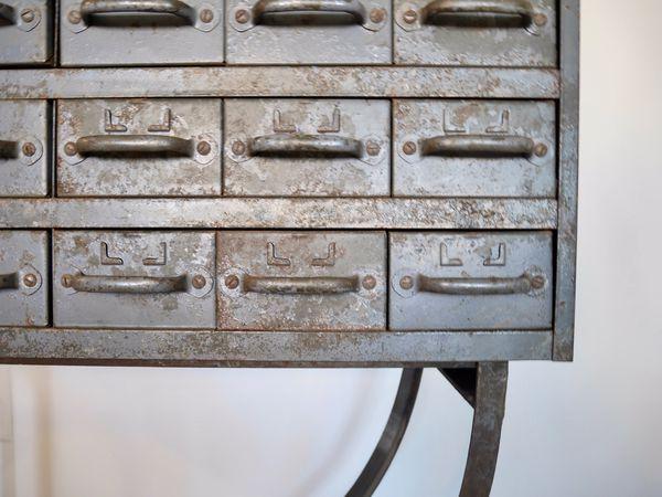 Metal toolbox table / bar cart