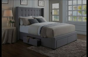DG Casa Tufted Upholstered Wingback Panel Storage Bed Frame for Sale in Mount Vernon, NY