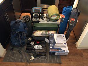 Camping Gear - tent, fans, cooler, blow up mattress, portable shower, sleep mats, hiking bag, utensils. for Sale in Houston, TX