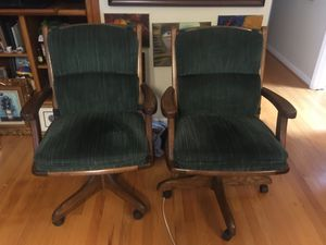 Solid oak office chairs with cushions Oak desk chairs for Sale in Chapel Hill, NC
