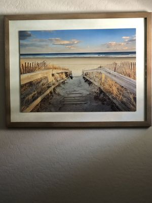 Beautiful beach wood framed picture for Sale in Gilbert, AZ