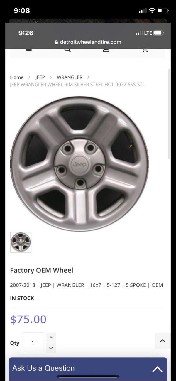 2007-2018 Jeep Wrangler Factory wheel bolt pattern (5-127) offset (44) 16x7