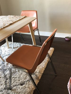 2 Vintage Mid Century Modern Orange Chairs Stackable for Sale in Saratoga Springs, UT