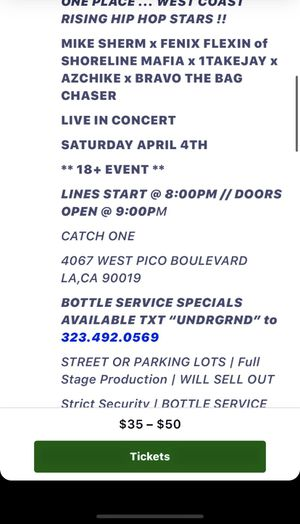 Shoreline mafia, mike sherm, 1takejay and more concert for Sale in Inglewood, CA