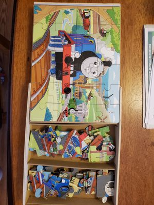 3 wooden 24 pce Thomas the Train puzzle sets with box for Sale in Crestview, FL