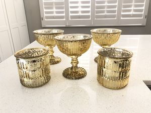 Antique Vintage Gold Mercury Glass Vases for Sale in Irvine, CA