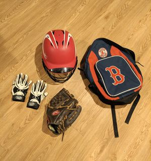 Baseball gear. Mizuno batters helmet with cage. Rawlings glove. Two batting gloves. Free red sox bag. for Sale in Natick, MA