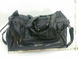 Vintage SAMSONITE 1990's Black Leather Weekender Dual Zipper Duffle Bag Luggage for Sale in Denver, CO
