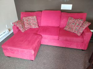 Red Sofa Chaise w/ matching Pillows for Sale in Spokane, WA