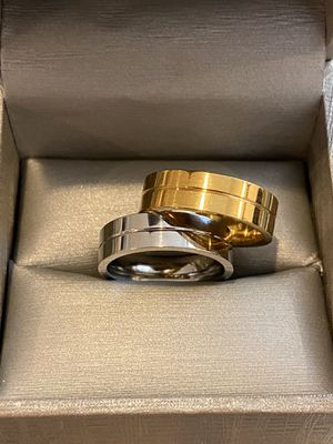 Unisex Silver/Yellow Gold plated Matching Ring Set—Code |LOV29| for Sale in Sacramento, CA