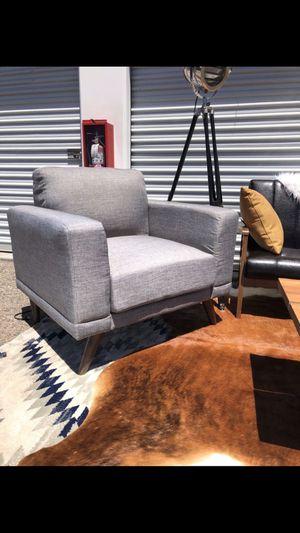 Brand new Mid century grey upholstered Accent Chair for Sale in San Diego, CA