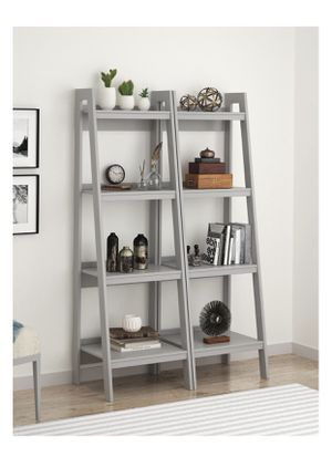 Scratch and Dent Lawrence 4 Shelf Ladder Bookcase Bundle, Gray Color Retails $167, Our Price $99 for Sale in Houston, TX