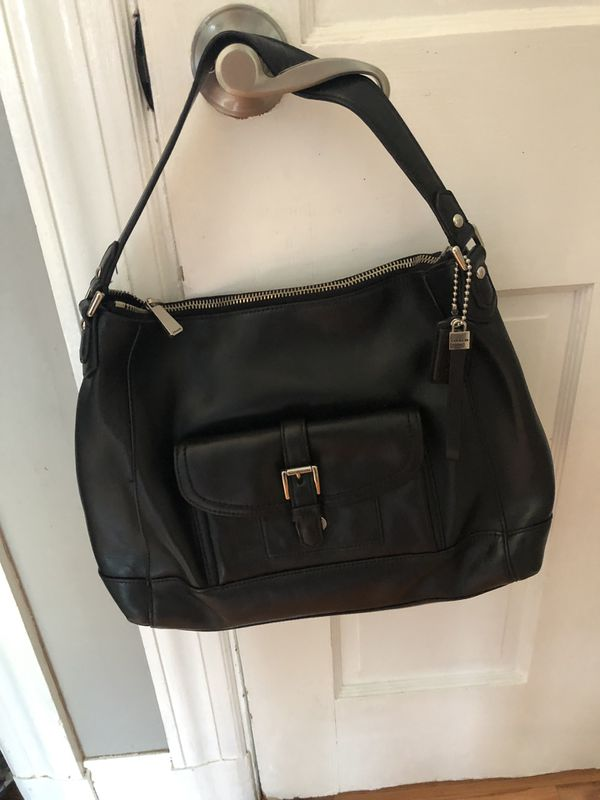 AUTHENTIC COACH CHARLIE LEATHER HOBO TOTE CLASSIC BLACK