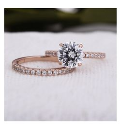 Classic Sterling Silver Round Cut Wedding Ring Set In Rose Gold for Sale in Newburgh,  NY