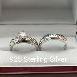 New with tag Solid 925 Sterling Silver ENGAGEMENT WEDDING Ring Set size 7/8 or 9 $150 set OR BEST OFFER ** FREE DELIVERY!!! 📦🚚 ** for Sale in Phoenix,  AZ