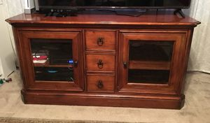Heavy TV console, solid wood! 2 glass doors (shelves) and 3 drawers. for Sale in Alexandria, VA