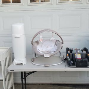 Baby Bundle Diaper Genie, Ingenuity BBouncer, Chicco Infant Car Seat,changing Table for Sale in Norwalk, CA