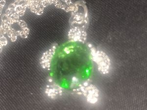 925 silver stimulated emerald turtle pendant with chain for Sale in Downers Grove, IL