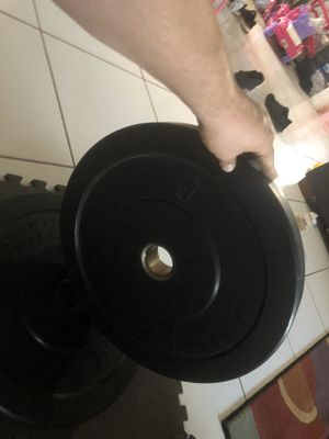 Two Olympic bumper plates 25 pounds each Use for barbell gym CrossFit weights power squat rack for Sale in Margate, FL