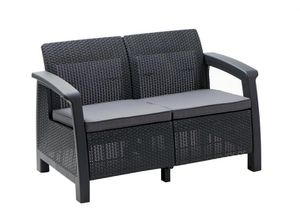 All-Weather Plastic Patio Loveseat Bahamas with Gray Cushion - brand new in sealed box for Sale in Dallas, TX