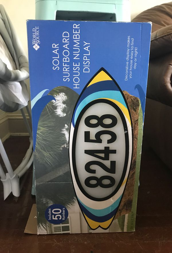 Solar surfboard house number display
