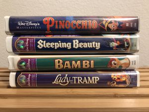Disney Pinocchio, Sleeping Beauty, Bambi, and Lady and the Tramp VHS Tapes for Sale in Justin, TX