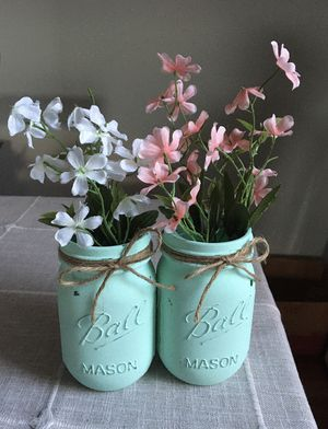 Distressed mason jar vases with silk flowers $10 for both for Sale in Plainfield, IL