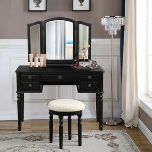 Brand New Black Vanity Table with Trifold Mirror and Stool for Sale in Los Angeles, CA