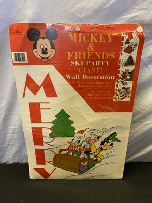 Vintage Mickey Mouse & Friends Ski Party Giant Wall Decoration - Still in Package for Sale in Lauderdale Lakes, FL