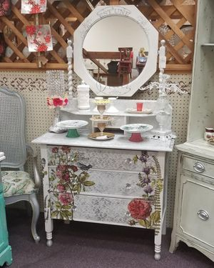 Antique Dresser hand painted & decorated with Barley Twist Mirror for Sale in La Mesa, CA
