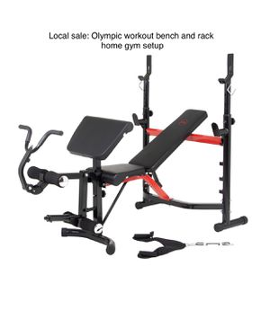 Body champ olympic deluxe weight bench home gym setup brand new. Adjustable bench with adjustable squat / bench rack, preacher curl pad area with cur for Sale in Puyallup, WA