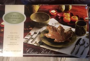 Nib 16 pc fall harvest dinnerware set for Sale in Stockton Springs, ME