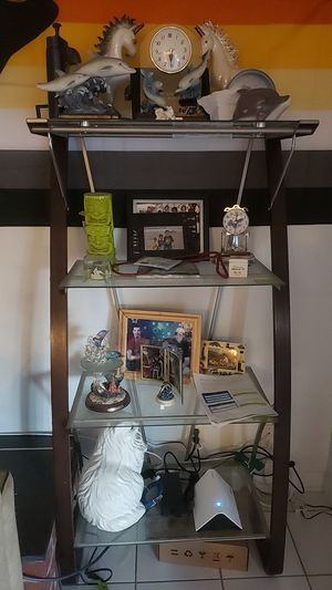 Glass and wood stand and desk for Sale in Las Vegas, NV