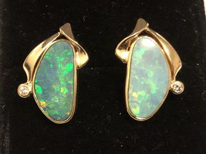 14k Yellow gold Fire Opal diamond earrings for Sale in Portland, OR