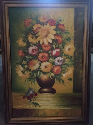 Beautiful Signed Canvas Flower Arrangement Painting for Sale in Pittsburgh, PA