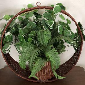 "Boho Vintage Wicker Bamboo Rattan Circular Hanging Plant Basket 18""X19""X7.5"" for Sale in Phoenix, AZ"