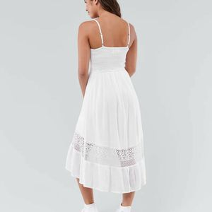 🆕️ A&F Button-Front Ruffle-Hem Midi Dress White for Sale in Bothell, WA