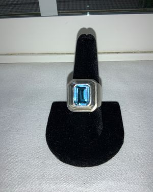 "Vintage STERLING SILVER "" Men's AQUAMARINE & SILVER Ring - Size 9 1/4"" for Sale in Beaverton, OR"