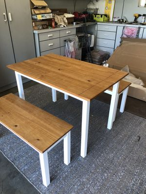 Wood Table with 2 benches for Sale in Yucaipa, CA