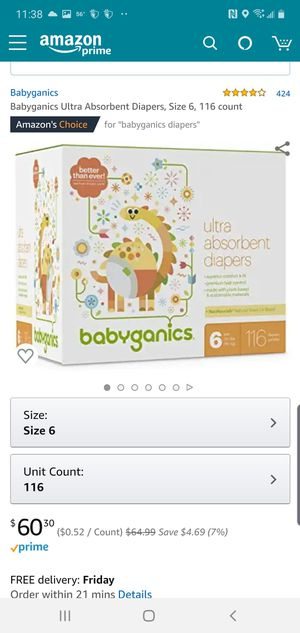 Babyganics 116 Size 6 Diapers for Sale in Rowlett, TX