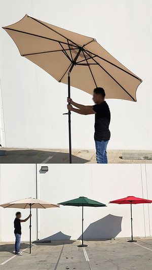 New in box $35 each Outdoor 9ft Patio Umbrella Aluminum Sun Shade w/ Tilt Crank (Tan, Green or Red) for Sale in Whittier, CA