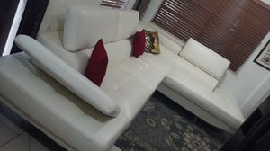 SECTIONAL LEATHER WHITE IN L.DELIVERY SERVICE AVALAIBLE for Sale in HALNDLE BCH, FL