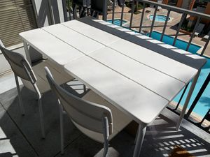 Ikea white Patio furniture (70% off) - one table, 2 chairs and 2 stools for Sale in Fremont, CA