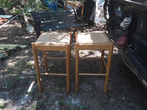 Oak and wicker bar stools for Sale in Lexington, SC