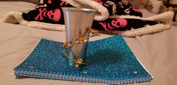 Silver vase w/24kt gold flowers