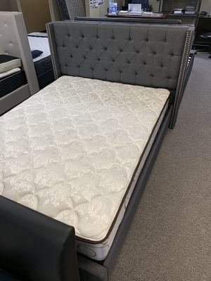Zero down financing full-size gray bed with mattress free delivery for Sale in Irving, TX